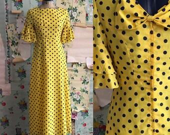 Vintage 1960s Yellow/Navy Polka Dot Maxi Dress. Small. Ruffle sleeve, bow back, metal zip.