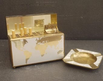 Vintage World Map cigarette Dispenser, Lighter and Ashtray Set. Distributor of cigarettes, lighter and ashtray shell globe 1970 s
