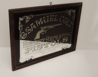 "Vintage Wall Mirror For collar Samuel Colt Patent Repaeting Pistols With Wood Frame 24 ""x 17"" Circa 1970's"