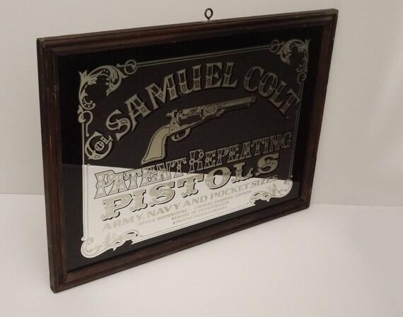 vintage grand miroir publicitaire col samuel colt patent. Black Bedroom Furniture Sets. Home Design Ideas