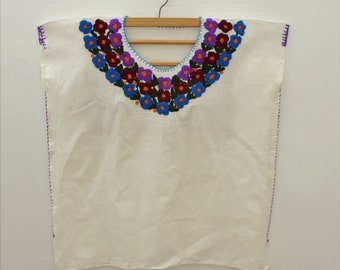Embroidered Collar Mexican Blouse  /Flowers from Oaxaca's Valley