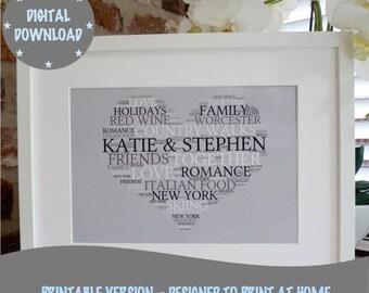 Personalised Printable Heart Print, Printable Word Art Print, Printable Engagement Print, *DIGITAL DOWNLOAD ONLY*