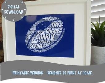 Personalised Printable Rugby Ball Print, Print Your Own Personalised Rugby Print, Printable Word Art Print, *DIGITAL DOWNLOAD ONLY*