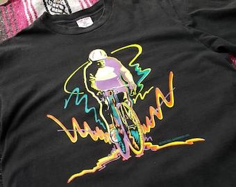 Vintage 1991 Bicyclist Neon Color T-shirt Size XL