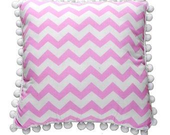 Pom Pom Pillow - Pink ZigZag