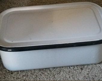 vintage enameled refrigerator bin with lid and black trim