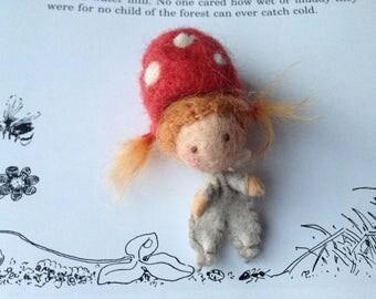 Children of the Forest - Elsa Beskow - Miniature Waldorf Doll - Miniature wool doll