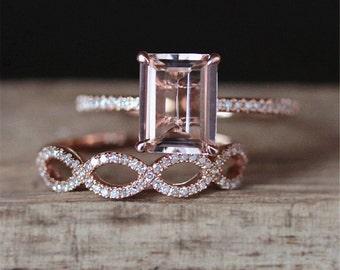 Solitaire Morganite Engagement Ring Set VS 7*9mm Emerald Cut Morganite Ring Half Eternity Diamonds Wedding Ring Set 14K Rose Gold Bridal Set