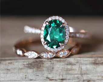 14K Rose Gold Engagement Ring Set 6*8mm Oval Cut Lab Created Emerald Ring Stack Art Deco Half Eternity Wedding Ring Set Emerald Ring Set