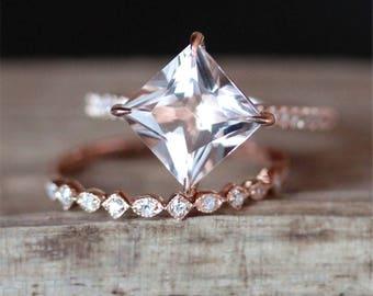 Prongs Morganite Engagement Ring Set Natural 7mm Princess Cut Morganite Ring Art Deco Half Eternity Wedding Ring Set 14K Rose Gold Ring Set