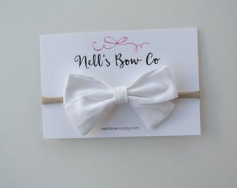 White - Baby, Toddler, Girls, Fabric, Hair Bow, Headband, Hair Clip, Hair Accessories, Folded Hair Bow, Baby Shower Gift