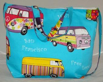 Vw Camper Handmade Tote Bag & Shoulder Bag Blue