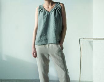 NEW Beige loose fit elastic waist pants made from Lithuanian linen