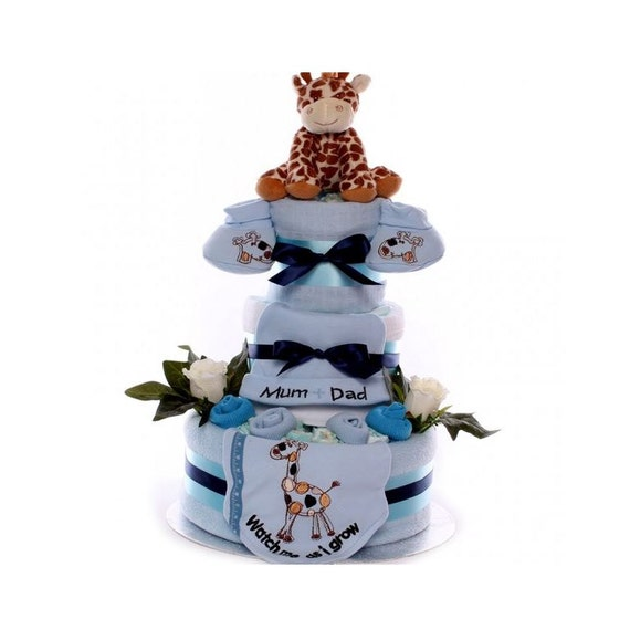 Watch Me As I Grow Nappy Cake Baby Boy, nappy cake gift, large nappy cake for a baby boy, fast delivery nappy cake, baby boy gift