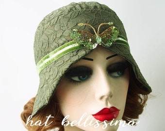 SALE green 1920s Cloche Hat  flowers  cotton Lace fabric Vintage Style hat hatbellissima Summer Hats
