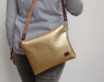 Gold Crossbody bags Gift for her Leather Casual Purse everyday Handbags Vegan leather bag For her - model BWS beige