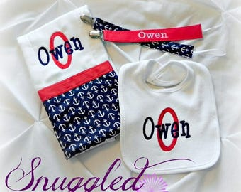 Navy and Red Anchors Personalized Gift Set - Bib, Burp Cloth, and Pacifier Clips