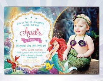 mermaid invitation - Baby Mermaid invitation -  personalized - princess ariel invitation - ariel invitation