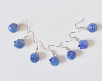 Blueberry earring  -polymer clay