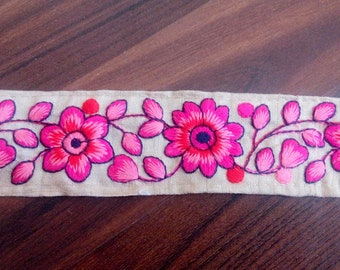 Pink Fabric trim Decorative Ribbon Sewing Trim, Embroidered Trim By The Yard Crafting Ribbon Sari Border By The Yard trim TTNLFT352