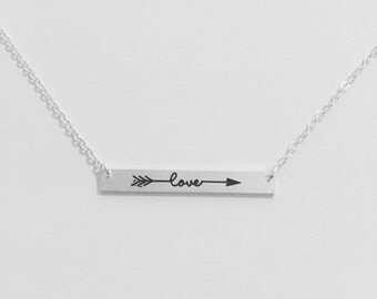 Silver Bar Necklace Engraved With Love