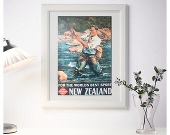 Fishing in New Zealand Vintage Poster Art Retro High Quality Giclee Prints on Canvas