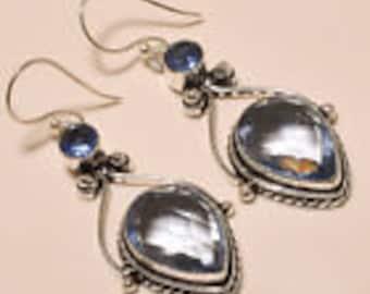 """Lovely Iolite Topaz, Blue Topaz 925 Sterling Silver Earrings 2"""""""