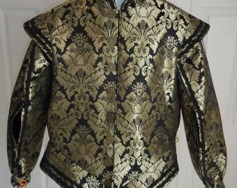 "New Renaissance Medieval tudor black & gold adult doublet jerkin vest coat jacket costume size X large with 46"" chest and 42"" waist"