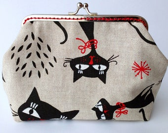 Metal Frame Purse, Cat Fabric Print, Linen, Gift for Woman