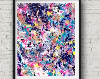Abstract Pink Art, Gold Pink Art, Modern Abstract Art, Blue Abstract Painting, Navy Pink Art, Gold Pink Canvas Art, Original Art Canvas