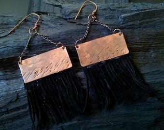 Bohemian copper earrings, suede fringe earrings, Indian copper earrings, ethnic copper earrings, geometric earrings, gift for her