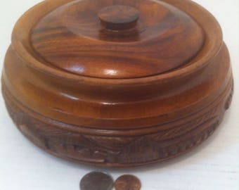 Vintage Wooden Round Bowl with Lid, Quality Hardwood, Carved Design, Kitchen Decor, Home Decoration, 8 x 3 inches, Storage Bowl, Box, Wood