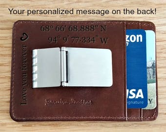 Money clip wallets • personalized money clip • leather money clip  • money clip • custom money clip • money clips • mens  toffee 7717