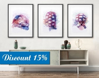 TURTLE  Watercolor Art Print Canvas Large Art Colorful Modern Canvas Wall Art Nursery Printable Animal Art