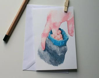 Father's Day Card Watercolor Holding Hands