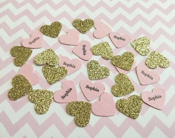Pink and gold confetti , Pink and gold heart confetti , Pink and gold baby shower confetti , Pink and glitter gold confetti , Pink and gold