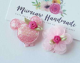 Baby Clip - Infant Toddler Clip -  Baby Snap Clips Set of 2 - Pink Mickey Mouse