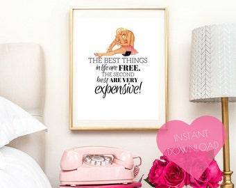 fashion print, pinup, vanity decor, PRINTABLE art, vanity art, wall decor, art print, room decor, fashion poster, bathroom art