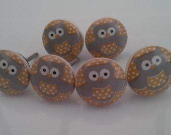 Owl Draw Knobs 6 Drawer Handles Draw Knob Cupboard Door Knobs Set of 6