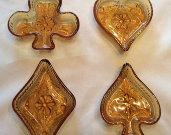 Small Vintage Amber Glass Diamond, Heart, Spade, and Club Amber Glass Dishes