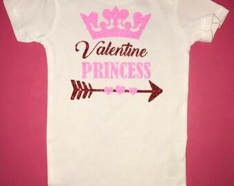 Baby girl Valentine's Day onesie valentine princess onesie
