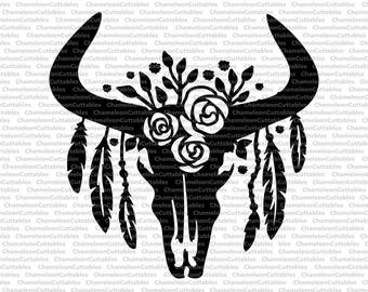 cow skull black svg cut file decal bull horns country