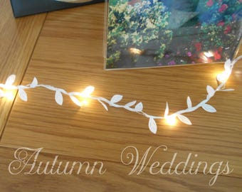 White Leaf Fairy Lights 2-10m String Lights - Wedding Decorations Boho Weddings - Battery Indoor Bedroom Garland Winter Wedding Decor