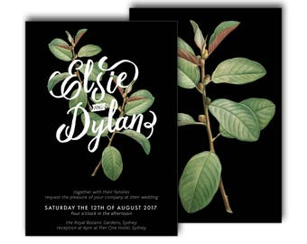 Botanical Wedding Invitation, Black, Green, Typographic, Typography, Wedding Invite, Modern, Greenery, Branch, Script, Botanic (Intertwined)