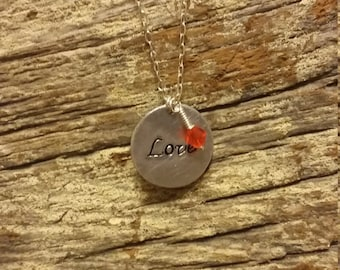 Love Aluminum Hand Stamped Disk Necklace