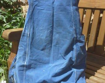 Vintage French blue apron tablier jardiniere