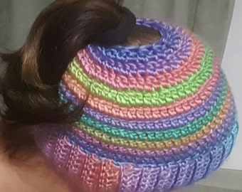 Super soft and warm Messy Bun Beanie or Ponytail Beanie. Bright and colourful.