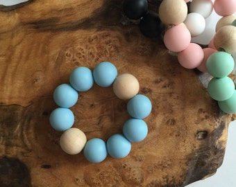 Classic Uno Teething Ring - Aquamarine; baby teething toy, blue teether, baby shower gift, baby gift, grasping toy