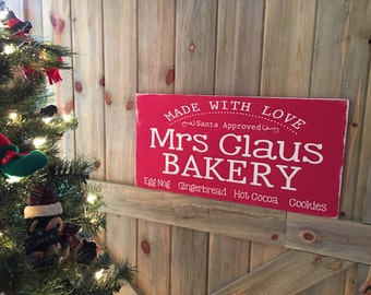 Mrs Claus Bakery - Handpainted Christmas Sign