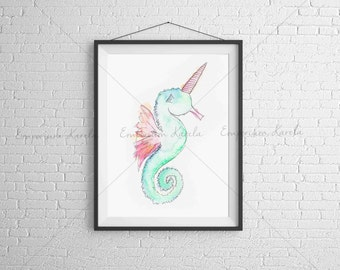 Watercolor Printable - SeaUnicorn - DIGITAL - Handmade